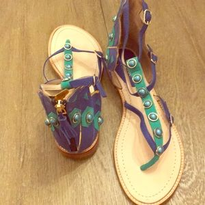 Kate Spade Soto Peacock Sandals Green & Blue